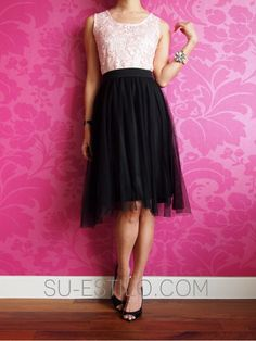 Knee Length Tulle Skirt in Black - oooh lace top and tulle skirt go perfect together!
