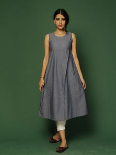 Pale Blue Overlapping Cotton Kurta – The Loom Simple Kurti Designs, Salwar Designs, Kurta Designs Women, Indian Designer Outfits, Designer Dresses, Stylish Kurtis Design, Casual Dresses, Fashion Dresses, Woman Dresses
