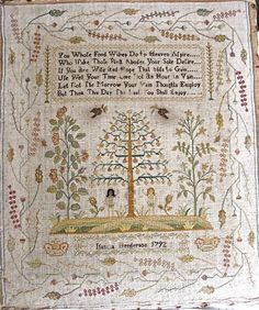 Isabella Henderson. The border on this sampler is really unusual (light, airy and very natural-looking.)  The central area (tree, Adam & Eve) looks to me like something Little House Needleworks would design.  The over-one trees are too cute for words.