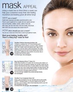 Skin Care: Masks  Please lmk how I can assist you. (E-MAIL) brookeramsey@marykay.com; OR my (WEBSITE) www.marykay.com/brookeramsey; OR PM (PERSONAL MESSAGE) me on my BUSINESS FACEBOOK page, www.facebook.com/brookeramseysalesdirector (must have NO consultant or is already my customer) TY:)