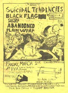 Black Flag, Suicidal Tendencies punk hardcore flyer