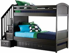 Cottage Colors Black Twin/Twin Step Bunk Bed on Wanelo