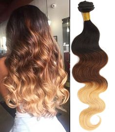 """US Local 16""""18""""20""""3Bundles Body Wave Human Hair Extension Ombre 6A Hair Wefts #WIGISS #HairExtension"""