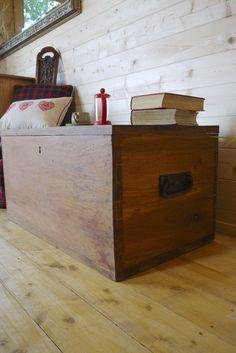 Rustic Solid Waxed Hardwood Chest, Trunk, Tool Box, Storage Coffee #waxtools