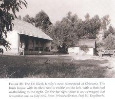 Angola De Klerk homestead, Chicuma - 1957 See caption Caption, Homesteading, Trek, African, Outdoor, Outdoors, Outdoor Living, Garden
