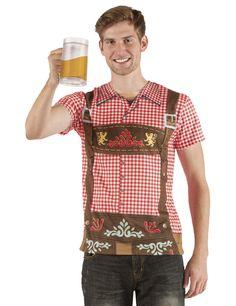 Camiseta bávaro hombre: Esta camiseta es para adultos.Representa el busto de un hombre bávaro por delante y por detrás. La camiseta imita una camisa con tirantes.La camisa es a cuadros de color rojo y blanco...