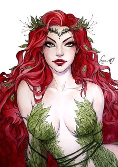 Poison Ivy Cartoon, Dc Poison Ivy, Poison Ivy Dc Comics, Poison Ivy Batman, Poison Ivy Photos, Poison Ivy Comic, Dc Comics Art, Comics Girls, Poison Ivy Character