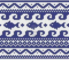 Seamless knitted marine pattern vector illustration