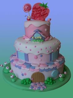 Little girls strawberry birthday cake