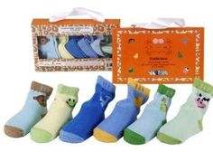 Zoo socks: 6 pack of socks in cute animal designs:  chick, cow, frog, monkey, dinosaur and whale.  Size newborn to 12 months.  $20 from www.mybabypeanut.com