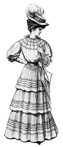 The simple little waist in the costume above is cut all in one piece with the fullness at the neck and sleeves held in place by ribbons that run through casings. Mull or some soft material was chosen.  Patterns for the waist came in six sizes: 32 to 42 inch bust measurement and required 3 yard and seven-eighths of 44-inch wide material. The skirt was formed of three straight sections, and came in four sizes: 22 to 28 inches waist measurement. It required seven yards of 44-inch wide fabric.