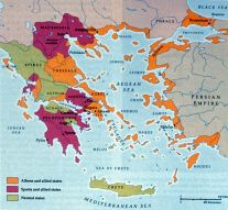 This map shows the breakdown of Classical Era Greece, with the Spartan, Athens, and neutral states highlighted.