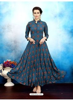 Buy Elevate Blue Geometric Print Cold Shoulder Maxi Kurti online in India at best price. Indian Gowns Dresses, Indian Outfits, Kurta Designs, Blouse Designs, Indian Fashion, Ethnic Fashion, Classy Fashion, Casual Dresses, Fashion Dresses