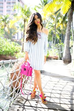 FEBRUARY 9, 2016 NEON POPS IN THE BAHAMAS - DRESS: Lush (wearing size small – it was a little big on me! PS It's $52!) | HANDBAG: Phillip Lim mini in Fuchsia (must-have for spring/summer!) | SANDALS: Elina Linardaki's Penny Lane | NECKLACE: Love Always | SUNGLASSES: Wildfox | RING: Odyssey | LIPS: Fearless