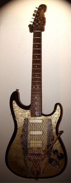Customized Gitaar for sale Steampunk Guitar, Cool Electric Guitars, Beautiful Guitars, Ibanez, Vintage Guitars, Playing Guitar, Cosplay Ideas, Acoustic Guitar, Castles