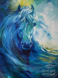 Horses Painting - Wave Runner Blue Ghost Equine by Marcia Baldwin