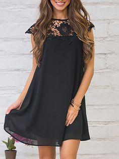 18b9997782c Stylish Lace Patchwork Floral Applique Casual Dress Stylish Dresses