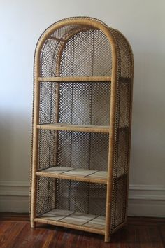 vintage wicker plant stand tall rattan shelf stand in. Black Bedroom Furniture Sets. Home Design Ideas