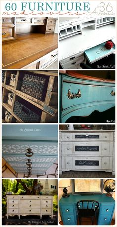 DIY:  60 Furniture Makeovers - every  paint finish, stain & wax technique, can be found on this post!  This is a  collection of transformed pieces, along with the tutorials.