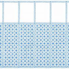 Komplettpackung - Alte Küche mit Herd-40200 Doll House Wallpaper, Tile Wallpaper, Paper Wallpaper, Stair Landing, Blue Tiles, Sheet Sizes, Tile Patterns, Venetian, Dollhouse Miniatures