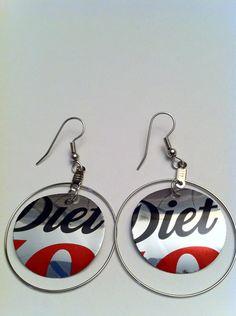Soda Can Earrings - Diet Coke. $5.00, via Etsy.