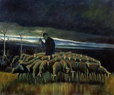 Van Gogh - Shepherd with a flock of Sheep