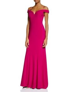 Adrianna Papell Off-the-Shoulder Matte Jersey Gown - 100% Bloomingdale's Exclusive  | Polyester/elastane | Dry clean | Imported | Sweetheart neckline, off-the-shoulder short sleeves, spaghetti straps