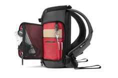 Python slimpack, gray-red by Booq Bags, via Behance