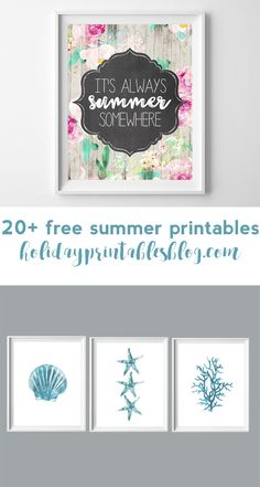 Over 20 free summer printables for your home decor!