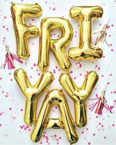 Save these gold Fri-YAY Friday balloon decorations for some fun inspiration for your next party.