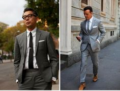 Gray slim suits for stylish grooms