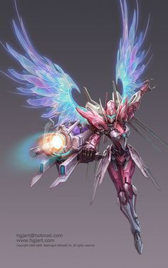 fantasy character concept art design, female mech warrior with angel wings by Guangjian Huang. Concept Art World, Robot Concept Art, Character Concept, Character Art, Character Design, Fantasy Warrior, Fantasy Art, Cyberpunk, Arcee Transformers