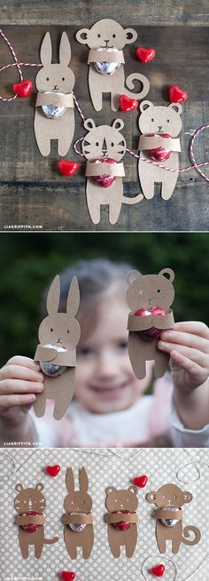 Rabbit could be used for Easter too. Kids Valentine's Candy Huggers. Free template at www.liagriffith.com