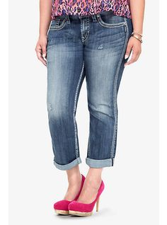 6d34a211d4277 Suki Contrast Stitched Cropped Jeans - SILVER JEANS by TORRID Silver Jeans
