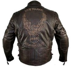 """If you Live to Ride and Ride to Live this is the perfect jacket for you! This jacket is constructed of high quality retro brown distressed Cowhide leather; featuring heavy duty brass zipper hardware and features the words """"Live to Ride, Ride to Live"""" with an American eagle embossed on the back.  visit to purchase: http://www.charlielondon.co.uk/mens-retro-brown-premium-cowhide-distressed-leather-embossed-cruiser-biker-jacket.html"""