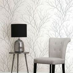 Zola Grey Tree Branch Brewster Wallpaper Wallpaper Brewster Wallcoverings Grays Whites Contemporary Wallpaper Floral & Plants Wallpaper Metallic Wallpaper Modern Classics Wallpaper Textured Wallpaper, Non Woven, Easy to clean , Easy to wash, Easy to strip Black And White Wallpaper, Metallic Wallpaper, Striped Wallpaper, Textured Wallpaper, Wallpaper Roll, Wall Wallpaper, Black White, Washable Wallpaper, Tree Branch Wallpaper