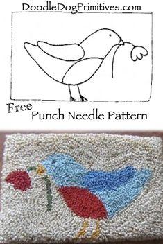 So cute! Blue Bird punch needle pattern - Free!