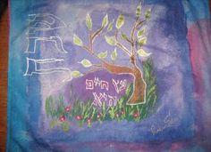 Tree of Life Challah cover 100% silk hand painted by Rivka Sari www.rivkasari.com