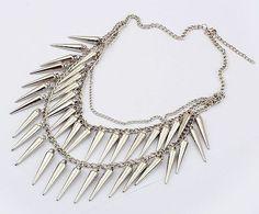 New Fashion Punk Style Metal Spike Rivets Bib Necklace FD A1137 3 | eBay