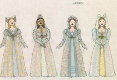 Ever After musical costume concept art - Jess Goldstein - Ladies