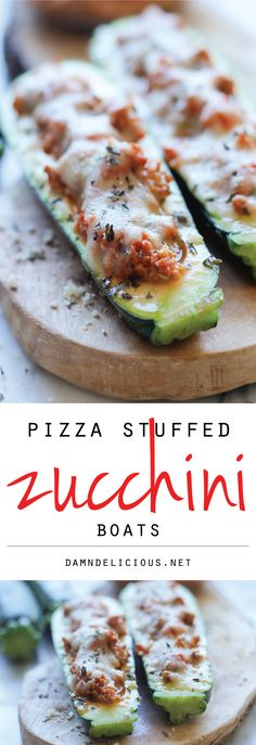 Pizza Stuffed Zucchini Boats - These healthy zucchini boats offer cheesy comfort without any of the guilt!
