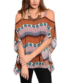 Another great find on #zulily! Rust & Cream Geometric Off-Shoulder Top by Buy in America #zulilyfinds