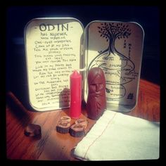dis-forvitin:    Working on a travel altar for Odin. :)    I love the illustration of Yggidrasil.
