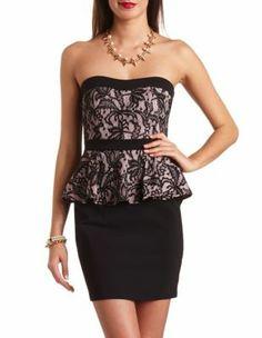 335ce995889 strapless lace peplum dress