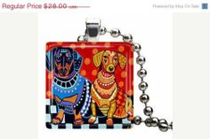 DACHSHUND JEWELRY GIFTS - Doxie Necklace - Wiener Dogs Pendant - Orange Blue Black and White - Wedding Gifts | HeatherGa