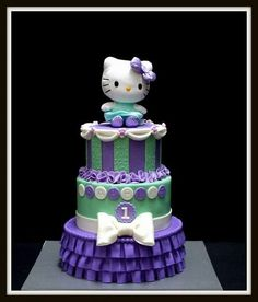 Ok I officially want to be a kid again and have this amazing Hello Kitty cake