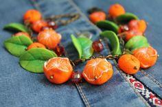 Jewelry Bracelet / Christmas gift /Orange Mandarin / Handmade  #Handmade #Chain