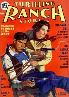 Thrilling Ranch Stories magazine pulp cover art western man cowboy tied bound woman dame cowgirl gun guns pistol pistols revolver revolvers shooting knife rescue danger