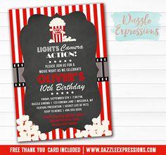 printable movie night birthday invitation movie or cinema event hollywood backyard movie popcorn party kids birthday party idea free thank you