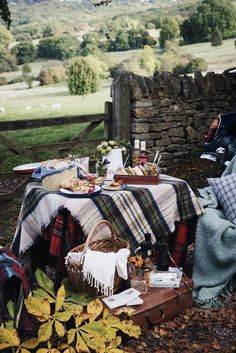A cozy rustic picnic in the countryside, with wholesome homemade picnic food and blankets to stay warm and snug Fall Picnic, Picnic Time, Country Picnic, Picnic Parties, Picnic Spot, Outdoor Parties, Summer Picnic, Dinner Parties, Tartan